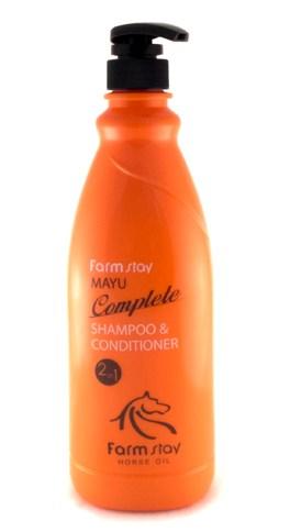 Шампунь-кондиционер с лошадиным маслом FARMSTAY Mayu complete shampoo&conditioner 2-in-1 1000мл: фото