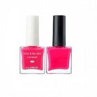 Набор лак для ногтей + тинт для губ и румяна THE SAEM Kiss&Blush Lacquer & Kissholic Nails PK03 9,5г+9.5г